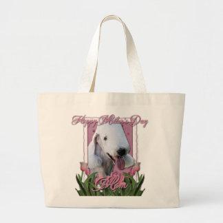 Jour de mères - tulipes roses - Bedlington Terrier Grand Sac