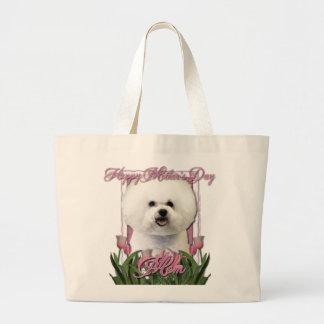 Jour de mères - tulipes roses - Bichon Frise Grand Sac