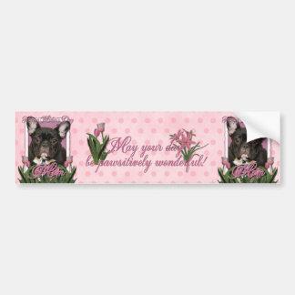 Jour de mères - tulipes roses - bouledogue françai autocollant pour voiture