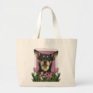 Jour de mères - tulipes roses - Kelpie australien Grand Sac