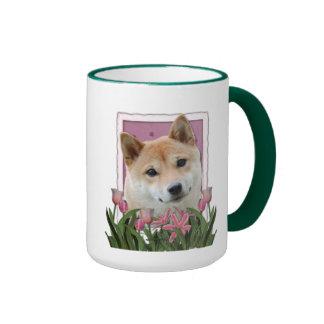 Jour de mères - tulipes roses - Shiba Inu Mug À Café