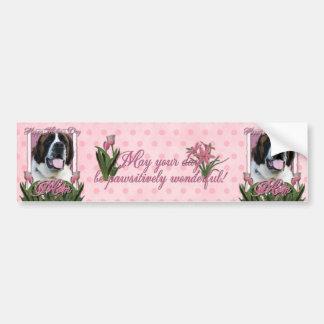Jour de mères - tulipes roses - St Bernard - Mae Autocollant Pour Voiture