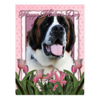 Jour de mères - tulipes roses - St Bernard - Mae Carte Postale