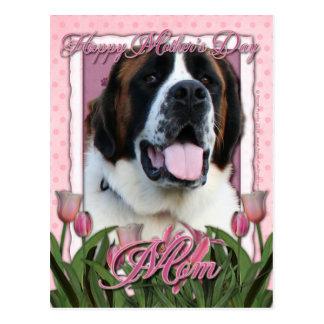 Jour de mères - tulipes roses - St Bernard - Mae Cartes Postales