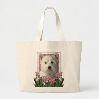 Jour de mères - tulipes roses - Westie Grand Sac