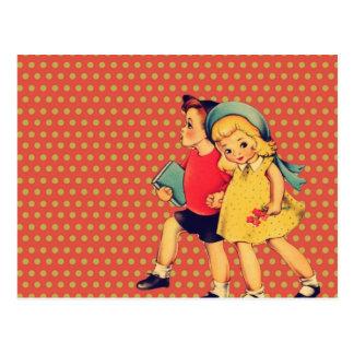 jour de valentines vintage de rétros enfants carte postale