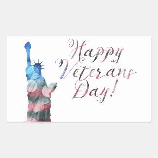 Jour de vétérans heureux (bokeh de liberté) sticker rectangulaire