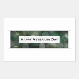 Jour de vétérans heureux (bokeh) sticker rectangulaire