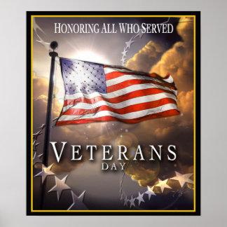 Jour de vétérans - honorant tous ce qui ont servi poster