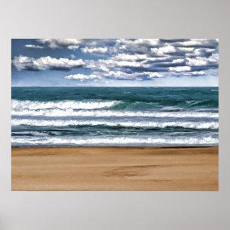 Jour désolé de plage affiches