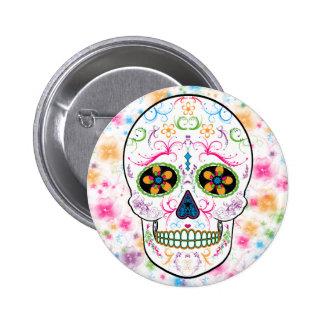 Jour du crâne mort de sucre - couleur multi lumine badge rond 5 cm
