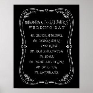Jour du mariage vintage de tableau de programme posters