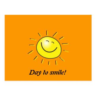 Jour ensoleillé, le soleil de sourire, jour à cartes postales