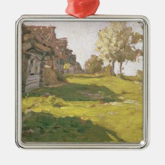 Jour ensoleillé. Un petit village, 1898 Ornement Carré Argenté
