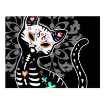 Jour Girly du noir mignon mort de coutume de chat Carte Postale