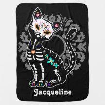 Jour Girly du noir mignon mort de coutume de chat Couvertures De Bébé