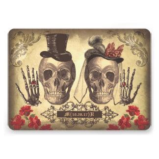 Jour gothique de couples de crâne de l invitation