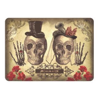 Jour gothique de couples de crâne de l'invitation carton d'invitation  12,7 cm x 17,78 cm