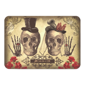 Jour gothique de crânes des cartes les épousant carton d'invitation 8,89 cm x 12,70 cm