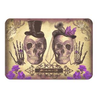 Jour gothique de crânes des cartes les épousant cartons d'invitation