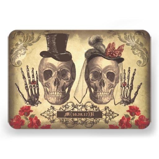 Jour gothique de crânes des cartes les épousant mo faire-parts
