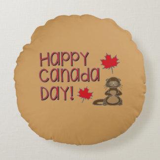 Jour heureux 3 du Canada Coussins Ronds