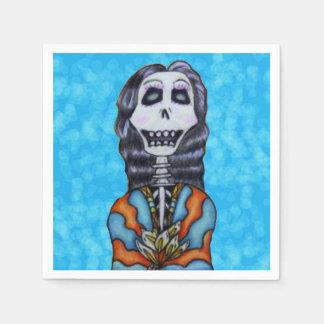 Jour heureux coloré du squelette mort serviette jetable