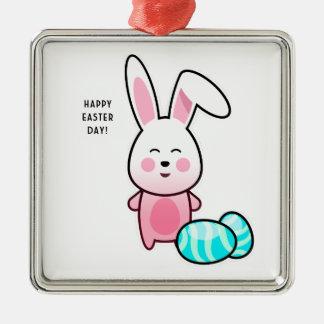 Jour heureux de Pâques Ornement Carré Argenté