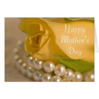 Jour heureux de rose jaune et de mères de perles cartes
