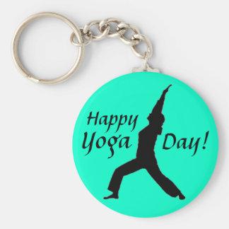 Jour heureux de yoga ! Porte - clé-Jade Porte-clé Rond
