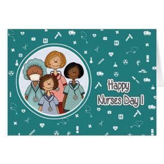 Jour heureux d'infirmières. Cartes de voeux faites