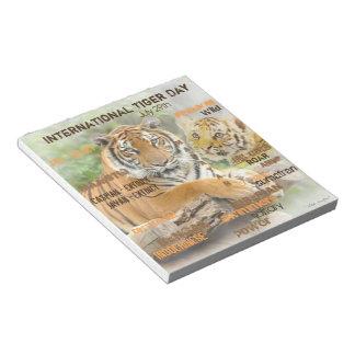 Jour international de tigre, le 29 juillet, art de blocs notes