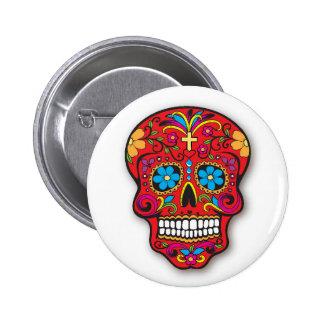 Jour mexicain rouge de crâne de sucre des morts badges