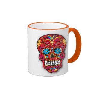 Jour mexicain rouge de crâne de sucre des morts mug ringer