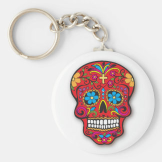 Jour mexicain rouge de crâne de sucre des morts porte-clé rond