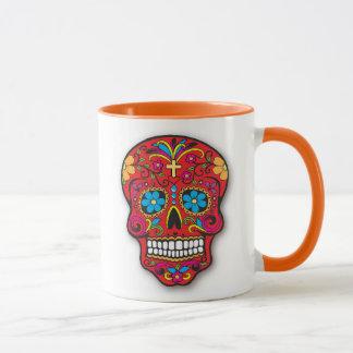 Jour mexicain rouge de crâne de sucre des morts tasses