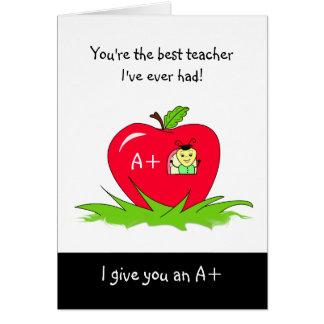Jour mignon Apple d'appréciation de professeur Carte De Vœux