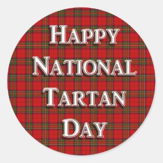 Jour national de tartan sticker rond