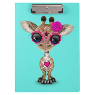 Jour rose de la girafe morte de bébé porte-bloc