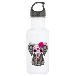 Jour rose de l'éléphant mort bouteille d'eau