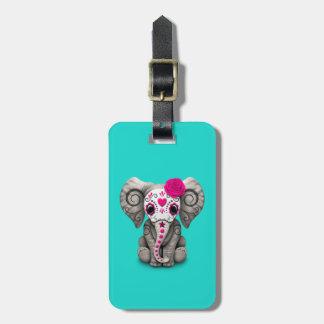 Jour rose de l'éléphant mort étiquette à bagage