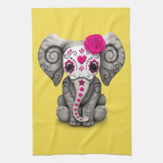 Jour rose de l'éléphant mort linges de cuisine