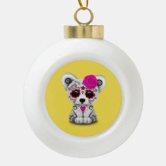 Jour rose de l'ours blanc de bébé mort boule en céramique