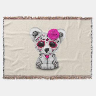 Jour rose de l'ours blanc de bébé mort couvre pied de lit