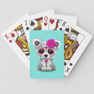 Jour rose de l'ours blanc de bébé mort jeux de cartes