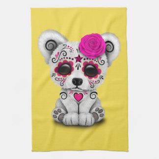 Jour rose de l'ours blanc de bébé mort serviette éponge