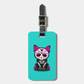 Jour rose du chaton mort étiquette à bagage