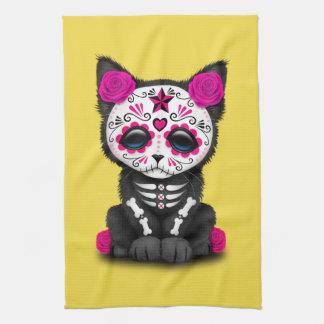 Jour rose du chaton mort serviettes éponge