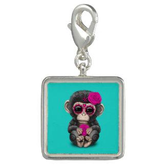 Jour rose du chimpanzé mort breloques avec photo