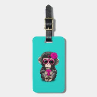 Jour rose du chimpanzé mort étiquette à bagage